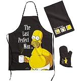 Simpsons Tablier Set Grill the Last Perfect Man Tablier de barbecue Serviette + Gant–Homer Simpson Set de cuisine