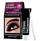 GKA Henna Pro Series Cream Augenbrauenfarbe Wimpernfarbe Augenbrauen Wimpern Farbe braun oder schwarz, Farbe: dunkelbraun