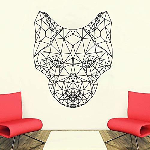 haotong11 Geometrische Wolf Hund Tiere Anime Wandtattoo Scandi Minimalistischen Vinyl Aufkleber Monochromatische DIY Wandbilder 47 * 57 cm