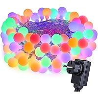 Qedertek Luces de Navidad, Guirnalda Luces 10M 100 LED Bombillas Colores Cadena de Luces 8 Modos de Luz Salida de Seguridad de 31V Adaptador de Corriente Listado UL Decoración para Navidad