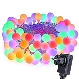 Qedertek LED Lichterkette Strombetrieben,10M 100 LED Kugeln Weihnachten Lichterkette Bunt 8 Modi Weihnachtsbeleuchtung Innen für Weihnachtsdeko