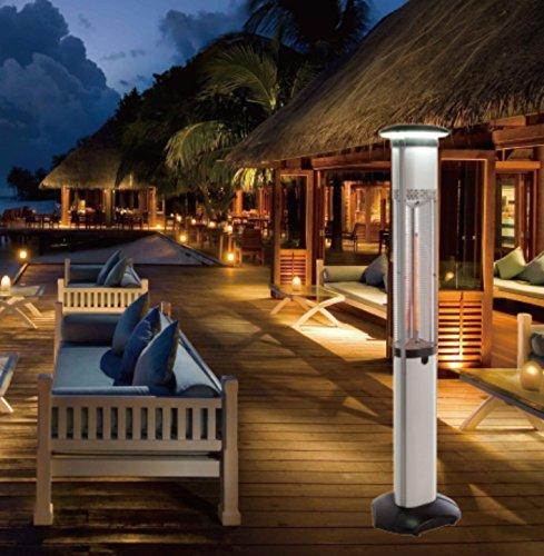 Infrarot Heizsäule Elektro Heizstrahler 3x900W Terrassenheizung inkl. Beleuchtung + Fernbedienung Standheizer Indoor Outdoor geeignet - 3
