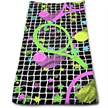 ewtretr Toallas De Mano,Retro Dayglo Tennis Stars Microfiber Beach Towel Large & Oversized -