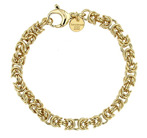 Königsarmband rund Gold Doublé 6mm 22 cm Herren-Armband Goldarmband Damen Geschenk Schmuck ab Fabrik Italien tendenze BZGYRO6-22v