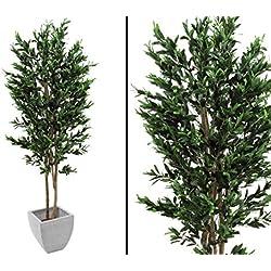 Olivenbaum Kunstbaum, mit Naturstamm 2-stämmig, mit Oliven, Höhe 250cm - künstliche Bäume Dekobäume