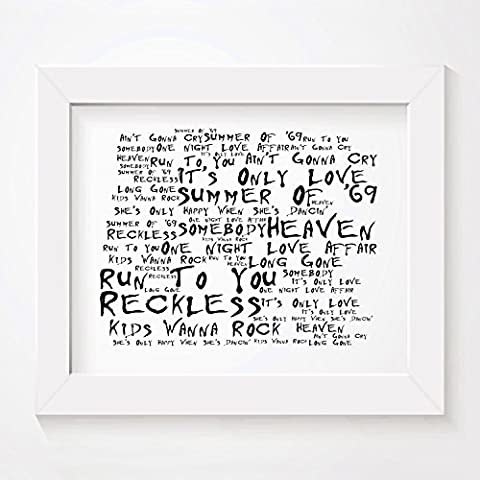 `Noir Paranoiac` Art Print - BRYAN ADAMS - Reckless - Signed & Numbered Limited Edition Typography Unframed 25 x 20 cm (10 x 8 inch) Album Wall Art Print - Song Lyrics Mini Poster