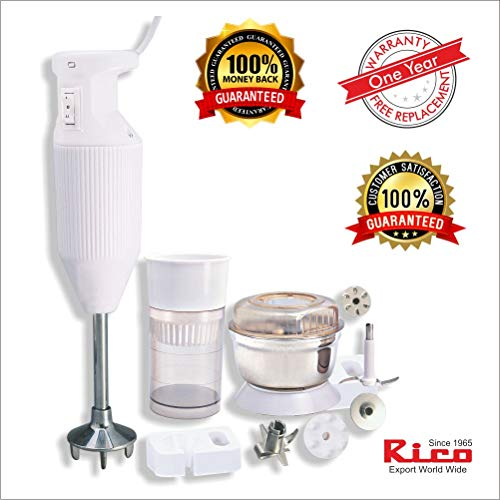 Rico 150-Watt Plastic Hand Blender with Chutney and Juicer Attachment (White)
