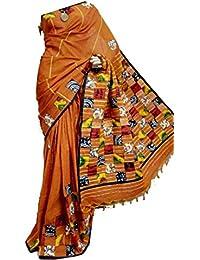 Tant Ghar Women's Cotton Khesh Gurjari Patch Work Sarees With Blouse (Red- BAG-1)