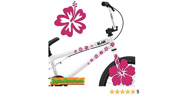 30 Fahrrad Hibiskus Aufkleber Pink Autotattoo Bike Fahrradaufkleber Tattoo Set Im Mix Sticker Blumen Blüte Blume Blümchen Auto