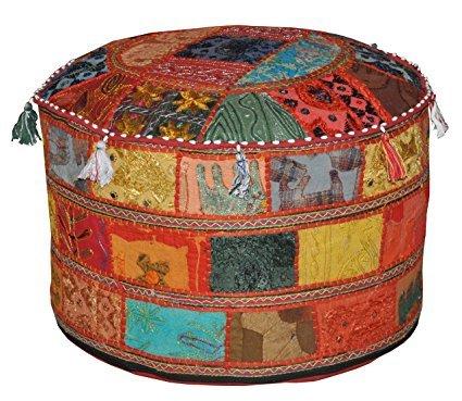 dien Boden Baumwolle osmanischen mit Patchwork und Stickerei Arbeit Hocker Cover indischen Handwerk nur Bezug ohne Einsatz (rot, 55,9cm) (Halloween-gäste-handtücher)