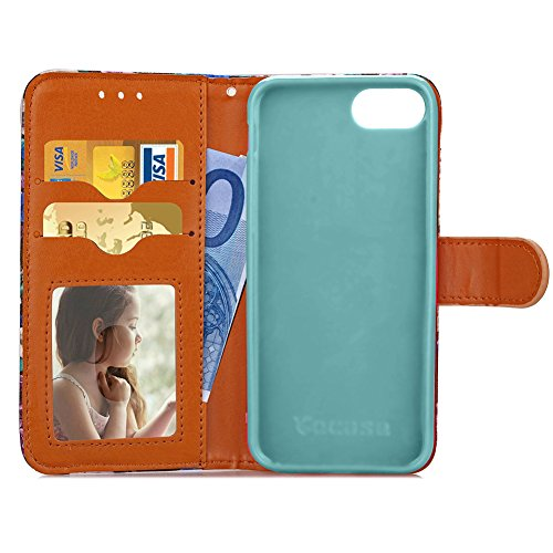KM-WEN® Schutzhülle für Apple iPhone 7 Plus (5,5 Zoll) Bookstyle Holz Muster PU Leder Wallet Case Flip Cover Hülle Tasche Schutzhülle mit Standfunktion Kartenfächer für Apple iPhone 7 Plus (5,5 Zoll) Farbe-2