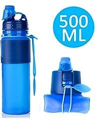 Plegable botella de agua deporte–soraco auténtica Premium silicona plegable botella de agua plegable para viajes, deporte y fuera–sin BPA, aprobado por la FDA, 16.9Ounce, a prueba de fugas tapa de rosca, azul