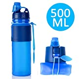 Collapsible Sport Water Bottle -Soraco Genuine Premium Silicone Collapsible Foldable Water Bottle for Travel, Sport and Outside -BPA Free, FDA Approved,16.9 Ounce,Leak Proof Twist Cap (Blue)