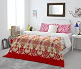 #7: Spaces Atrium Plus 200 TC Cotton Double Bedsheet with 2 Pillow Covers - Red
