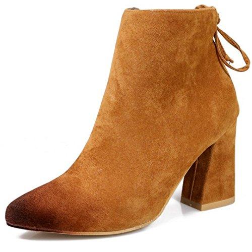 Senhoras Coolcept Saltos Bloco Camurça Clássicos E Sapatos De Absatzen Toe Pontas Tornozelo Botas Castanhos