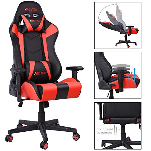 MC Star Gaming Racing PC Stuhl Ergonomisch Design Computerstuhl Schreibtischstuhl Bürostuhl Hoher Rückenlehne, 14cm Schwammstärke Einstellbar mit Kopfstütze und Lendenkissen(Geschwindigkeit Rot)