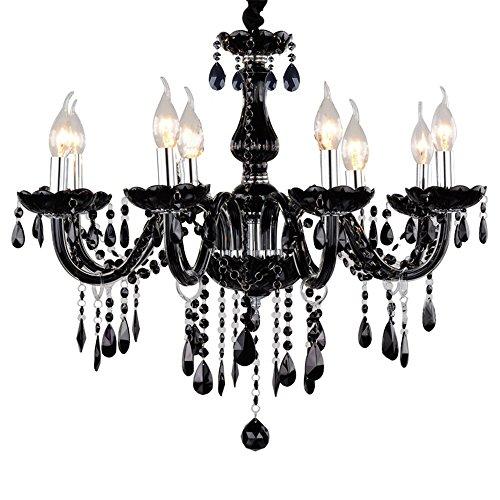 8-flammig Schwarz Kristall Hängeleuchte Klassisch Kronleuchter Pendelleuchte Deckenleuchte antik Kristall Lüster E14