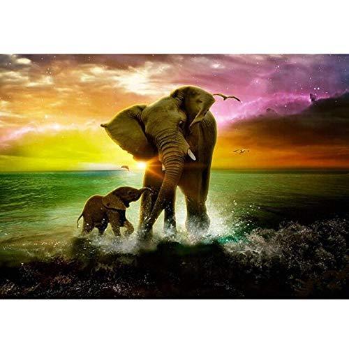 AAAWNE 5d DIY Diamant malerei Bunte Elefanten Familie voller runder Diamant Stickerei kreuzstich Bohrer kristall wandmalerei, 70x90cm -