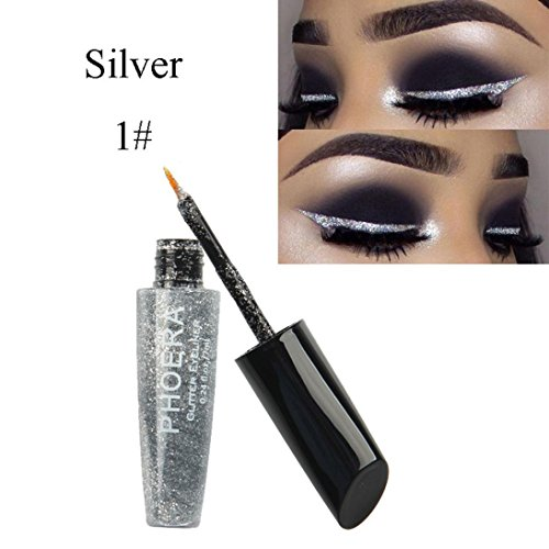 Moonuy 10 Couleurs Eyeliner Liquide Glitter Shimmer Impermeable et Maquillage Eyeshadow Liquid Shimmer Pigment Silver Gold Metallic Liquid Glitters Eyeliner Ombre à Paupières (A)