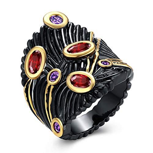 LILIMO Ringe Vintage Schmuck Mode Gold Hochzeit Black Gold Ring Red Zircon Frauen Schwarzen Kupfer Breite Ringgröße 6-9,9 (Gelbe 14kt Gold Engagement Ring)