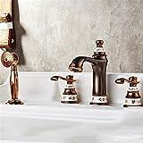 ETERNAL QUALITY Badezimmer Waschbecken Wasserhahn Messing Hahn Waschraum Mischer Mischbatterie Tippen Sie auf Antiken Split 4-teilig Badewanne Armatur 4 Loch Badewanne vo