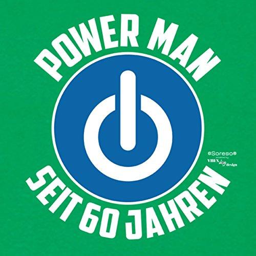 Für Männer Geschenk zum 60. Geburtstag Herren T-Shirt als Geschenkidee für Ihn zum runden Geburtstag Powerman seit 60 Jahren auch Übergrößen 3XL 4XL 5XL ., Farbe: hellgrün Hellgrün