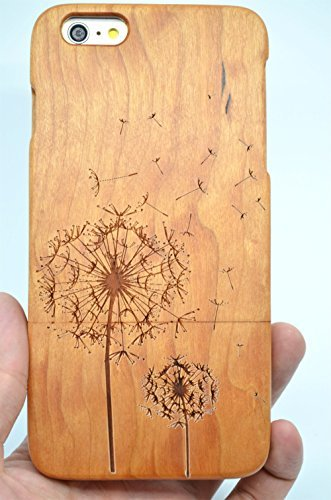RoseFlower® Coque iPhone 6S 4.7'' en Bois Véritable - Cerisier des bois Noël - Fabriqué à la main en Bois / Bambou Naturel Housse / Étui avec Gratuits Film de Protecteur Écran pour votre Smartphone Pissenlit bois cerise
