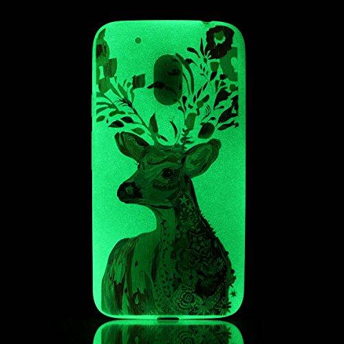 CaseHome Motorola Moto G4 Luminous Hülle (Mit Frie Displayschutzfolie) Leuchtende Silikone Rückhülle Für iPhone 6 6s Plus 5.5 Zoll Zoll Silikon Etui Handy Hülle Weiche Transparente Luminous TPU Back C Aquarell Hirsch