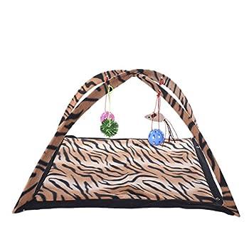 TAONMEISU Tente pour chat lit de chat lit de loisirs motif léopard souris en volant 61 x 61 x 34 cm