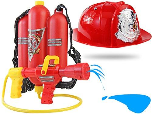 Wasser-Spritze mit Helm Wasser-Gewehr Wasser-Pistole Set Mega Power Ausrüstung Uniform Feuerwehr-Kostüm Feuerwehr-Helm Wasser-Spritze Pool-Kanone (Kinder Wasser Pistolen)