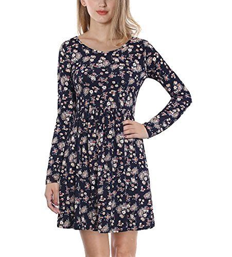 CoCo Fashion Damen Langarm Casual Lose A-Line Kleid Knee Length Short Minikleid Skater Dress, Blau, Gr. EU L (Fit-jeans Stretch-trim)