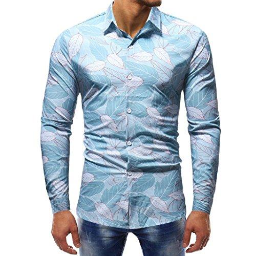 GreatestPAK Printed Man Bluse Fashion Casual Langarm Slim Shirts Tops