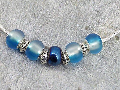 Halskette für Frauen in europäischen Perlen mit blau getönt