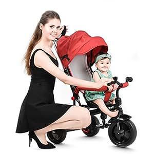 besrey 4-in-1 Triciclo per bambini primi passi a tre ruote con tetto apribile colore rosso