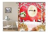 Daesar Bad Vorhang für Badezimmer Weihnachten Theme 3D Lustiger Duschvorhang aus Polyester-Stoff 165x180CM