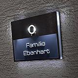 Edelstahl Türklingel LED beleuchtet in Anthrazit Beschriftung Gratis (verschiedene Schriftarten wählbar), beleuchtetes Namensschild, Edelstahl V2A Klingelplatte Geschenkidee Metzler-Trade