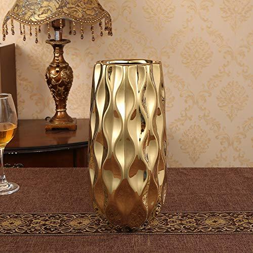 SER ITYHTR Dekoration Ornamente Crafts Ornaments_Creative Nordic Keramik Zwei Sätze von Gold Vase Large Mouth Blumenarrangement Home Living Room Crafts Ornaments, Large