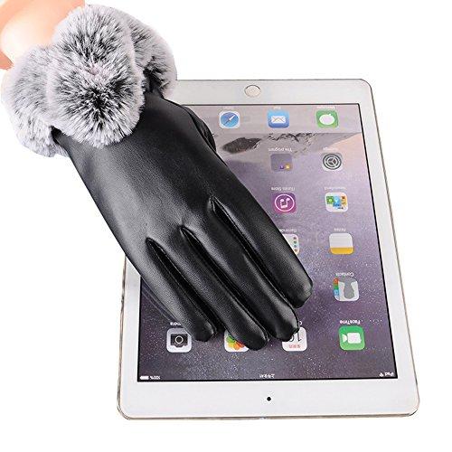 Lederhandschuhe Damen, Winter Touchscreen Handschuhe, Warme Outdoor Handschuhe mit Voller Touchscree, für Fahren Outdoor Motorrad Radfahren Handschuhe(Schwarz) -