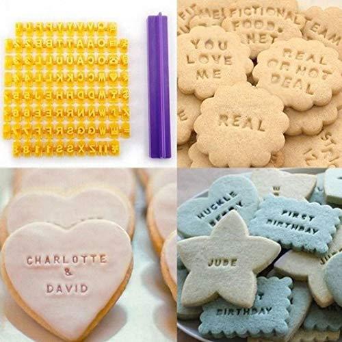 Lin XH Mini-Buchstaben-Form aus Silikon, handgefertigt, für Fondant, Kuchendekoration, DIY Form für Stempel, Kekse, Kekse, Ausstechformen gelb