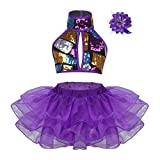 bfa6eba8fa Alvivi Traje de Danza Jazz Ballet Niña Lentejuelas Brillantes Disfraces  Baile Conjunto Crop Tops Halter+Falda Tutú+Pinza de Cabello Pelo Infantil  para ...