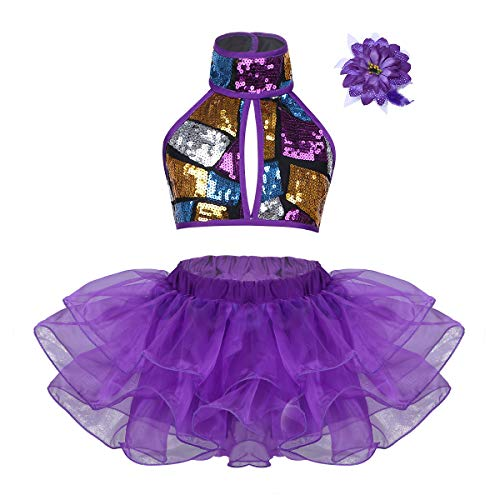 Freebily Kinder Performance Kleidung Outfits Pailletten Crop Top mit Tutu Rock Kopf Blume Neckholder Tutu Kleid Tanz Kostüm für Ballett Jazz Dance Stage Performance Lila 140-152/10-12 - Tanz Kostüm Mit Pailletten Gürtel