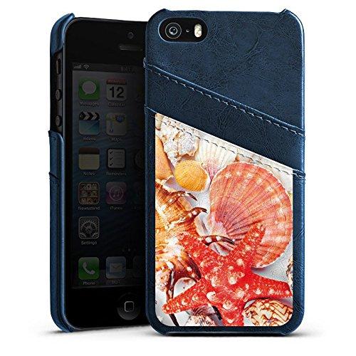 Apple iPhone 4 Housse Étui Silicone Coque Protection Coquillages Moules Étoile de mer Plage Étui en cuir bleu marine
