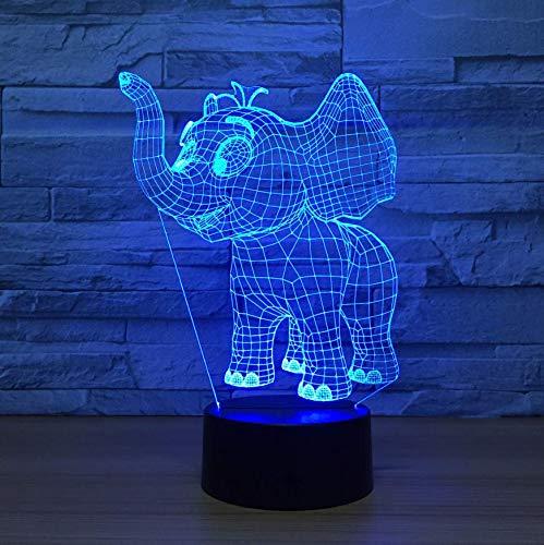 Película Pequeño Elefante Acrílico Luces De Led 3D Colorido Luz De Noche Usb Plug En Cumpleaños Creativo Aniversario Regalo De Vacaciones