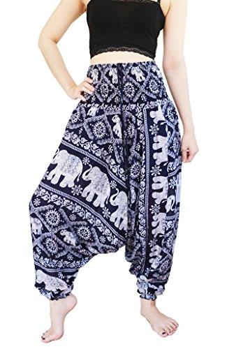 YAOWALUCK Women's Smocked Aladdin Pattern 2 in 1 Harem Pants Jumpsuit