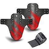 NICEDACK Guardabarros MTB, Guardabarros Bicicleta Montaña, MTB Mudguard Delantero y Trasero Compatible se Adapta a 26' 650B 27,5' 29 Pulgadas de Bici y Bicicleta Fat Mud Gurad (Negro Rojo)