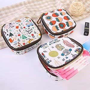 OneYANG Cartoon Waterproof Bulk Zipper Sanitary Napkin Aunt Towel Cosmetic Storage Bag Purse, Cosmetic Bag, Coin Purse