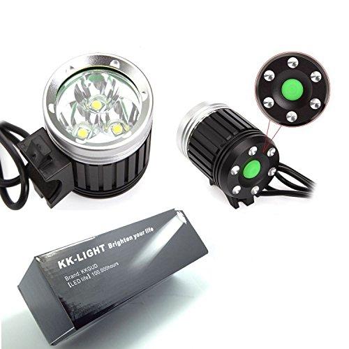 KK-LIGHT - Faro CREE XML T6 3 LED per bicicletta, 4 modalità, 3600 Lumen + batteria + caricabatterie