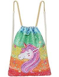 ICOSY Bolsa de sirena de unicornio con lentejuelas, con cordón de lentejuelas, mochila de