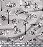 Soimoi Gris terciopelo Tela farola y el ciclo de cosecha texto estampados de tela por metro 58 Pulgadas de ancho