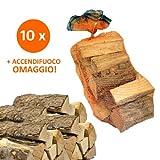 10 Sacchi da 15 kg legna da ardere 100% carpino 150 kg tronchetti per camino stufa 33 cm
